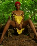 Beautiful Black Pussy Girl Outdoors in the Woods