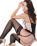 Pretty leggy teen Aika May teasing in her lingerie
