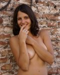 Cute amateur latina walks shyly nude in public