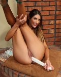 Hot busty babe August Ames toys pussy with objects