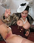 Big busty lady pervert toilet fucking love pearls