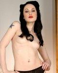 skinny goth girl Jade Starr strips classy lingerie