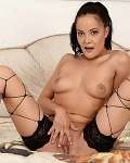 Dolly Diore in hot net stockings fingers and fists