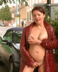 Cheeky amateur brunette exhibitionist flashing