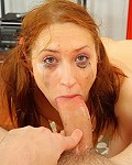 Teen Sabrina Redhart giving a deep throat blowjob