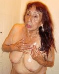Old and horny latina lady exposed huge mature tits