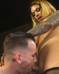 TS Foxxy dominant tranny with cagged sub is fucked