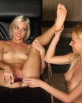 Blonde teen gets her pussy spread open and toyed