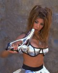 hairy space girl Jasmin St Claire nude with weapon