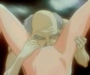 Hentai cuties threesome gangbanged with an old guy