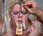 Bizarre blonde facial humiliation and nose bondage
