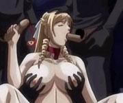 Blonde anime lady having hot group gangbanged orgy