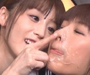 Cute japanese girls spit and swap messy cum shots