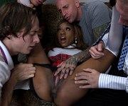 Caramel Starr busty ebony schoolgirl is gangbanged