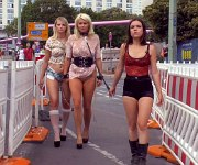 Layla Pryce and Mika in public humilated by lezdom