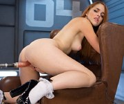 Amarna Miller redhead on high heels machine fucked