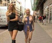 Celina Davis busty babe public humilated by lezdom