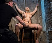 Angel Allwood busty blonde milf is bound and toyed