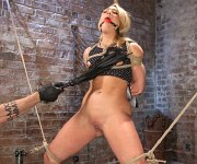AJ Applegate busty rope tied and fucked by friends