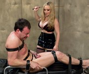 Aiden Starr big tits latex femdom spanks bound sub