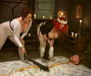April Flores and gf bbw femdom spanking a male sub