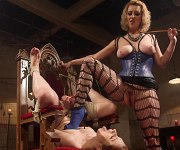 Violet Monroe is rope tied and straponed by lezdom