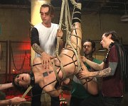 Bianca Stone is hogtied for gangbang by five males
