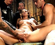 Roxy Raye is dominated with gangbang by four cocks