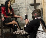 Lily Lane boots femdom strapons and dominates male