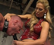 Cherie Deville mistress pegs and spanks a male sub