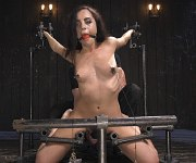 Roxanne Rae is bound in metal and toyed to orgasms