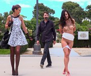 Carolina Abril is rope bound and paraded in a park