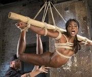 Ana Foxxx sexy ebony bound for spanking and toying
