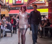 Rija Mae tied sub is disgraced in public by lezdom