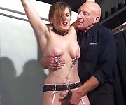 Blonde submissive Taylor Hearts bruising boob bdsm