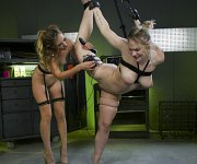 Hadley Viscara is tied and electro toyed by lezdom