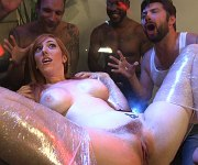 Lauren Phillips busty bound gangbanged by students