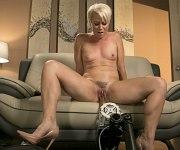 Helena Locke cougar masturbates with a sex machine