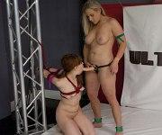 Alexa Nova bound wrestling and straponed by lezdom