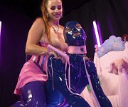 Bella Rossi latex femdom spanks and strapons slave