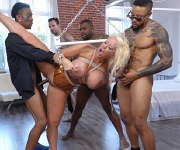 Alura Jenson busty dominatrix bound and gangbanged